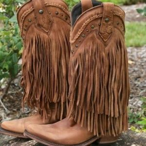 Liberty Black Faggio Long Fringe Boots 7.5 Brown